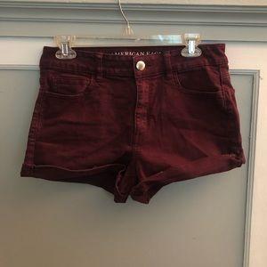 Maroon High Rise Shorts